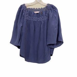 Rebecca Taylor Sz 6 Blue Silk Blouse